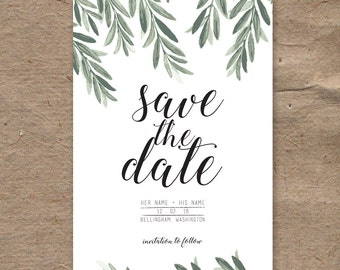 Boho Leaves Save the Date | Customizable | 5x7 | DOWNLOADABLE PDF | trendy, typography earthy