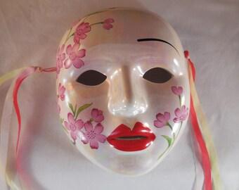 Ceramic mask wall decor.