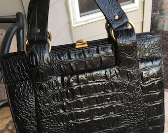 Vintage Black CAPRICE Leather Croc Embossed Handbag Purse 1960s