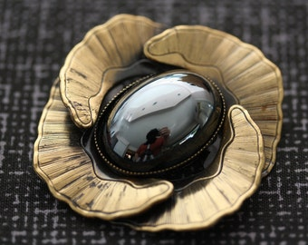 Vintage Ermani Bulatti Hematite and Bronzetone Floral Pin