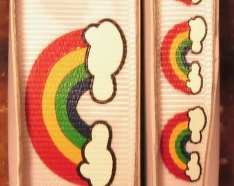 "2 Yards 3/8"" or 7/8"" Rainbows and Clouds on White Grosgrain Ribbon - US DESIGNER"