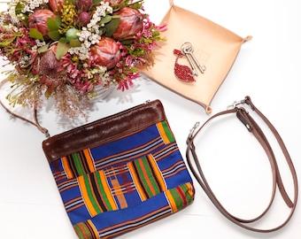 Leather Cross Body Bag - Convertible Leather Shoulder Bag - Ethnic Leather Clutch - Tribal Shoulder Bag
