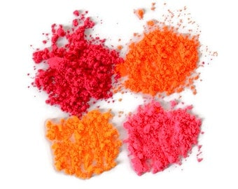 ON SALE!! Pink & Orange Neon Powder Sampler Set for Makeup, Nail Polish, Soap Making, Embossing, Paints and other Craft Projects