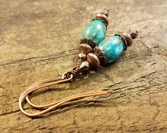 Turquoise Earrings, Turquoise and Copper Earrings, Boho Earrings