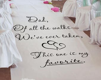 dad of all the walks stencil or decal for personalizing 36 inch wide wedding aisle runners