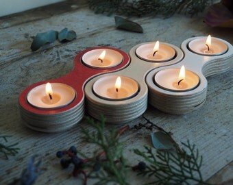 Wooden Tea Light Candle Holder Red - Candle Holder Wood - Modular Candle Holder Centerpiece -Tea light Candle Holder Plywood Birch