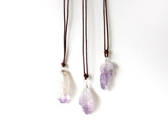 Handmade Raw Amethyst beads with 925 silver Deco Necklace, February birth stone