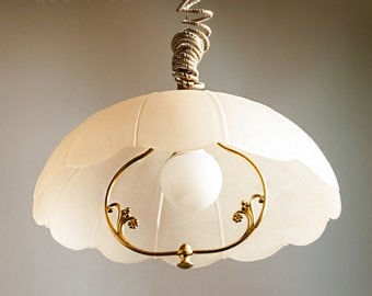 Vintage Large Rise & Fall Light Fitting Peach Frosted Glass Italian