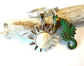 Seahorse Keychain, Fresh Water Pearl Keychain, Seahorse Car Accessories, Celestial Keychain, Celestial Car Accessories, Celestial Gifts