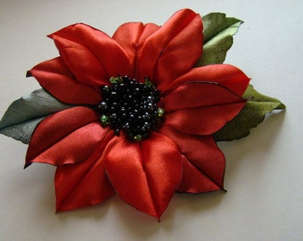 Handmade red satin flower brooch, flower clip & pin, red klematis,christmas flower