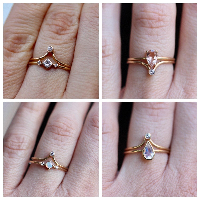 14K Chevron Diamond Ring Bezel Diamond Ring Stacking Ring