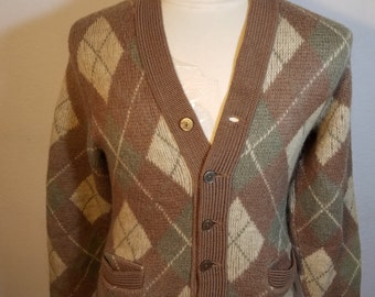 FREE  SHIPPING  1950  Argyle Men Sweater Cardigan