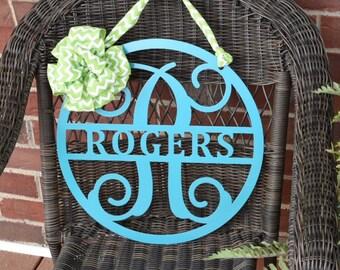 ROGERS: Metal Monogram Sign, Door Wreath,  Front Door Wreath, Monogram Door Sign, Metal Letter, Name Sign, Monogram Door Wreath,