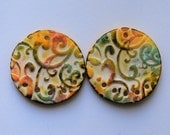 Polymer Clay Big Round  Beads, Earring Beads,Handmade beads,Polymer clay beads,Scrolls