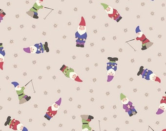 Fabric, Garden Gnomes on Natural, Grandmas Garden, Lewis and Irene,  By The Yard