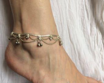 Silver pendants 14 metal ankle chain