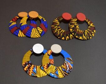 African Print Ankara Hoop Earrings _ Hoop Earrings _ Handmade Earrings _ Fabric Earrings