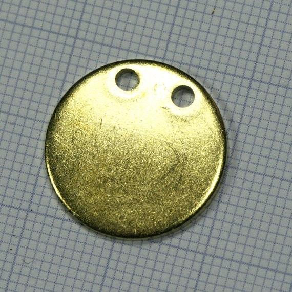 20 mm Circle tag 10 pcs 1.5 mm thickness Raw Brass 2 hole Charms ,Findings 61R-385