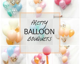 Assorted Balloon Bouquets- You pick! Pastel Latex Balloons, Pretty Party Balloons for Gender Reveal,  Baby Showers and Birthdays