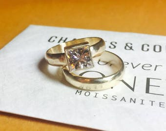 Bridal Wedding Set| Princess Cut Forever One| Recycled Yellow Gold| 1.70 Carat Princess Cut Moissanite| Ethical| Eco Friendly