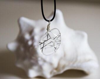 Unique Clear Sea Glass Pendant
