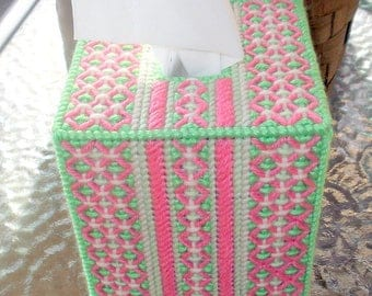 Pink White and Green Baby Tissue Box Cover