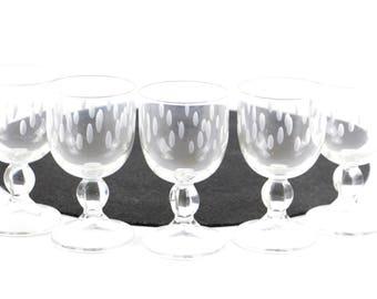 Vintage wine glasses set 6 cut glasses spotted design German 1960s