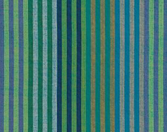 CATERPILLAR Stripe AQUA Woven WCATERAQUAX by  Kaffe Fassett fabric sold in 1/2 yard increments