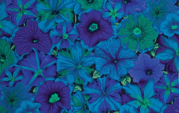PETUNIAS BLUE PJ50 Philip Jacobs for Kaffe Fassett Sold in 1/2 yd increments
