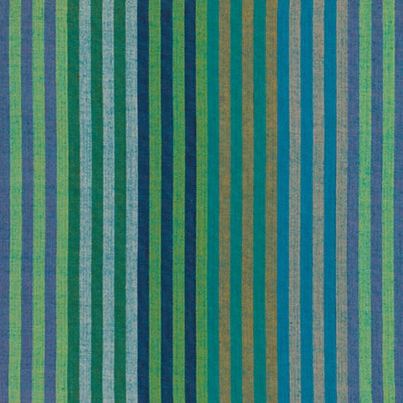CATERPILLAR Stripe AQUA Woven WCATERAQUAX by  Kaffe Fassett fabric sold in 1/2 yard increments