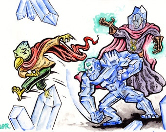Watercolour Fantasy Art - Escape from Crystal Cave