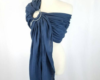 Linen Ring Sling Baby Carrier - Newborn Sling - Infant Wrap Carrier - Toddler Sling Carrier - COBALT - Gathered, Pleated, or Hybrid Shoulder