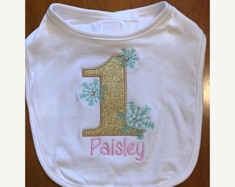 Pink, Mint, and Gold Winter Onederland Bib With Name Embroidery