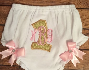 Gold Glitter and Pink Monogram Birthday Baby Diaper Cover
