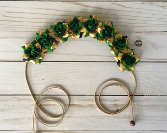 St Patricks Day Flower Crown, Green Gold Boho Flower Crown, St Pats Hippie Headband, Parade Flower Crown, Irish Headband, Rose Floral Crown