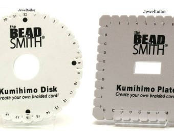 Beadsmith Kumihimo Braiding Disk Plates  Round & Sqaure Versions With Optional Instructions