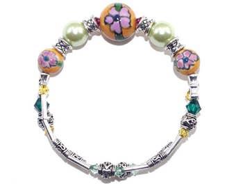 Botanical Bracelet, Flower Bead Bracelet, Summer Bracelet, Ceramic Bead Bracelet, Cottage Bracelet, One Wrap Bracelet, Gift for Girlfriend