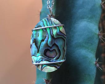 Hand Wire Wrapped Paua Shell Pendant Necklace