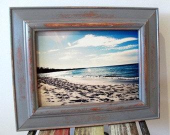 Rustic Wooden Framed Photograph, Distressed Photo Frame, Beach Photography, Grey Picture Frame 5x7