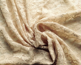1 Yard Scalloped Edged Pale Tan Stretch Lace
