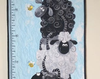 Child Growth Chart, Quilted Sheep and Bees Wall Hanging, Heirloom Family Gift, Baby Shower Gift, Quiltsy Handmade