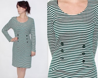 Vintage 1990's Green White STRIPED Long Sleeves Knee Length FITTED JUMPER Dress Size 12