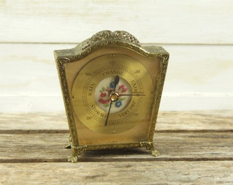 Small Gilt Barometer with Embroidered Flower Face, Desk Barometer. Gilt Filigree Weather Gauge. Mid Century