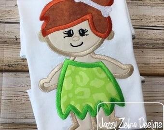 Cave Girl appliqué embroidery design - cave woman appliqué design - cave girl appliqué design - prehistoric appliqué design - girl appliqué