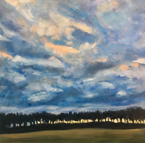 "Sorry this item is SOLD- Oil Painting: Sunset behind the Tree Row, 20"" x 20"", original oil painting"