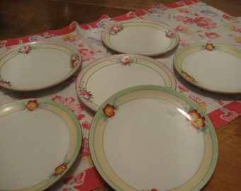 Lovely Vintage 6 Dessert Salad Plates Floral Green PInk Trim Meito China Set
