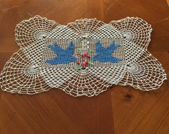Vintage Crocheted Doily with Blue Birds and Flowers