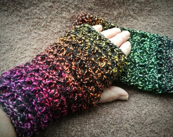 Handmade Knitted Fingerless Gloves, Texting Mitts, Wristwarmers, Gradient colours, Mismatched