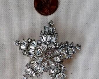 Sherman jewelry Brooch white star snowflake