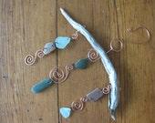 wind chimes, copper wire sun catcher, sea glass wind chime, sea glass mobile, real driftwood wind chimes